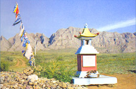 A Buddhist shrine near the Khaiyrakan Mountain in Tuva, SIBERIA, RUSSIA