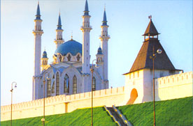The ancient majestic Kul Sharif mosque destroyed in the 17th century and recently reconstructed in the Kazan Kremlin, VOLGA, RUSSIA
